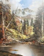 Tom Dooley - Original Mountain Scene, Oil on Canvas
