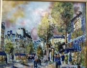 """Street Scene"" Original Enamel on Copper by Max Karp"
