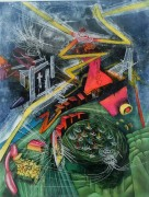 """Pyrocenter"" Aquatint Etching by Roberto Matta"