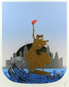 """""""Statue of Liberty - Day"""" From the State of Liberty Suite of 2 Embossed Serigraphs with Foil Stamping by Erte"""