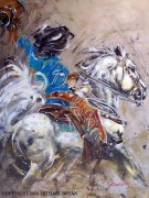 """Cowgirl (Yeee Haaaa)"" Giclee/Paper Hand-Embellished with Metal by Michael Bryan"
