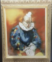 """Sad Clown"" Original Enamel on Copper by Max Karp"