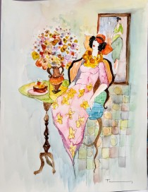 """Untitled"" 5 Original  Mixed Media Watercolor by Itzchak Tarkay"