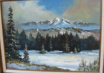 """Pikes Peak In Winter"" original acrylic on Canvas by Tom Dooley"