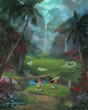 """17th Tee In Paradise"" Hand-Embellished Giclee on Canvas by James Coleman"