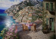 """Balcony on Positano"" Original Oil on Canvas by S. Sam Park"