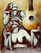 """Romance With Guitar"" Hand-Embellished Serigraph on Canvas by Yuroz"