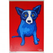 """Second Line Red"" Silkscreen by Blue Dog Artist George Rodrigue"