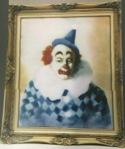 """Clown in Blue"" Original Enamel on Copper by Max Karp"