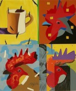 """Coffee Roosters"" Original Acrylic/Canvas by Rick Garcia"