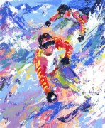 """Skiing Twins"" (Mahre Brothers) Serigraph by LeRoy Neiman"