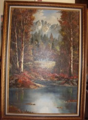 """Untitled"" Lake & Fall Pines Original Oil/Canvas by Tom Dooley"