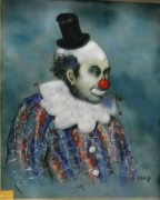"""Clown"" 1970 Original Enamel on Copper by Max Karp"
