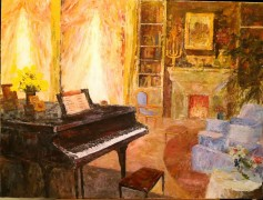 """Interior with Piano"" Original Acrylic painting on canvas by Slobodan Paunovic"