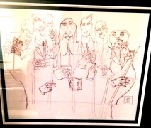 """DInner Meeting"" Original Drawing by Todd White"