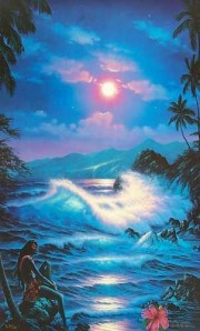 """Blue Hanna Moon"" serigraph with diamonds and remarque by Christian Riese Lassen"