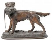 """""""Épagneul au Faisain"""" Bronze Sculpture by Jules Moingiez"""