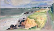 Sea Shore of Brittany Original Watercolor by Alexandre Minguet