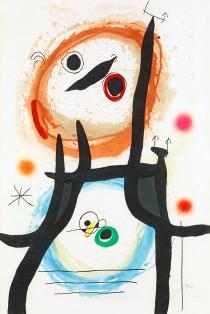 """La Femme Angora"" Color Etching, Aquatint and Carborundum by Joan Miro"