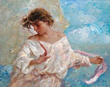 """Blancos y Azules"" Original Oil on Canvas by Royo"
