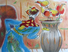 """""""Robed Man and Vase"""" Lithograph on Arches by Peter Max"""