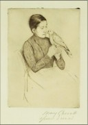"""""""The Parrot"""" Drypoint Etching by Mary Cassatt"""