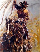 """Roundup (Cowgirl 2)"" Giclee/Paper Hand-Embellished with Metal"
