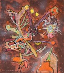 """New View"" Hand-Colored Carborundum Etching by Roberto Matta"