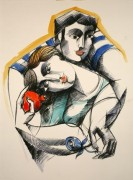 """Tender Embrace"" Hand-Painted Limited Edition Serigraph by Yuroz"