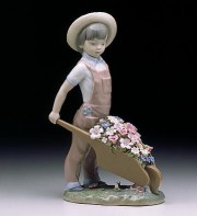 """Little Gardener"" Glazed Porcelain Figurine by Llardro"
