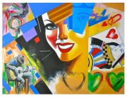 """Queen of Hearts"" Original Acrylic on Canvas by Rick Garcia"