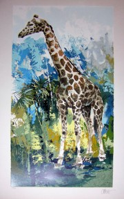 """Giraffe"" Serigraph on Paper by Wayland Moore"