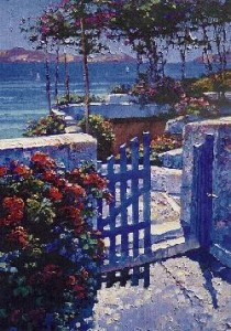 Blue Gate Serigraph on Paper by Howard Behrens