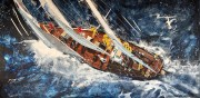 """High Seas"" Original Mixed Media Painting on Aluminum by Michael Bryan"