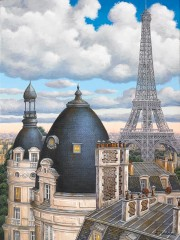 """Rooftops with Eiffel Tower"" hand-signed archival print on canvas by Liudmila Kondakova"