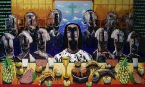 """La Ultima Asamblea"" 2004 Serigraph by Vladimir Cora"