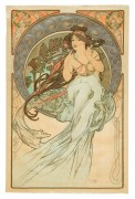 """""""La Musique""""  1898 Singed and numbered Original Lithograph by Alphonse Mucha"""