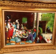 """Cairo Luncheon"" Original Enamel on Copper by Max Karp"