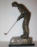 """Birdie Putt"" Bronze Sculpture (Side View)  by Laran Ghiglieri"