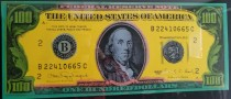 """Old $100 Bill (American Money)"" Embellished Mixed Media Silkscreen on Canvas by Steve Kaufman"