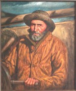 """Manning The Tiller"" Original Oil/Canvas by Kenneth M. Freeman"