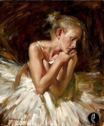 """""""Thoughts Before The Dance"""" Hand-Embellished Giclee on Hand-Textured Canvas by Andrew"""