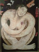 """Rogocijo"" (Rejoicing) Original Oil; Acrylic; Resin & Arches paper on Linen by Orlando,A.B."