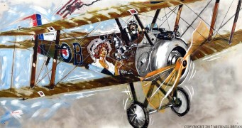 """Birdie, Sopwith Camel"" original on Aluminum by Michael Bryan"