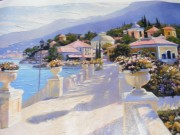 """Bellagio Promenade II"" Hand-Embellished Giclee on Canvas by Howard Behrens"