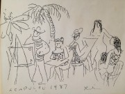 """Acapulco 1987"" Ink/Cardboard Stock by Gustav Likan"