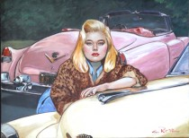"""Pink Cadillac"" Original Oil on Canvas by Colleen Ross"