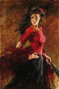 """""""Fan Dancer"""" Hand-Embellished Giclee/Canvas"""