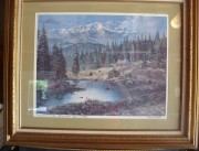 """Untitled"" Lake, Pines & Teepees Framed Lithograph by Tom Dooley"