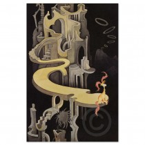"""""""Pink-Tufted Small Beast in a Night Landscape"""" Serigraph on Archival Canvas by Dr. Seuss"""